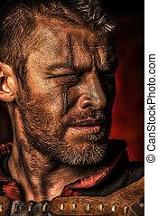 legend man - Portrait of a courageous ancient warrior in...
