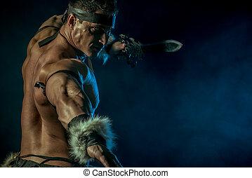 legend man - Portrait of a handsome muscular ancient warrior...