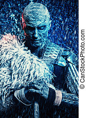 legend of old times - Halloween. Frozen snow covered zombie...