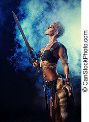 legend woman - Portrait of a beautiful female warrior in...