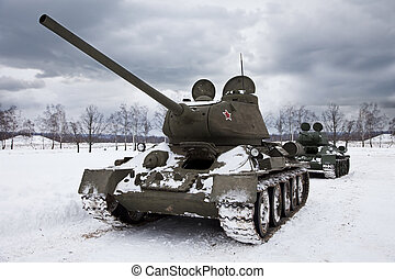 Legendary Russian Tanks T34 under a dramatic sky.