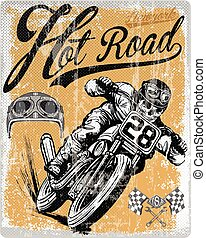 Legendary vintage racers t-shirt label design with racer and...