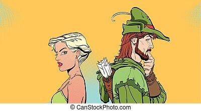 legends., について, 中世, ロビン, 考え, 恋人, 現代, legend., halftone, something., バックグラウンド。, weak., man., woman., hood., 擁護者, 女の子, 人, 英雄, 驚かされる, pair.