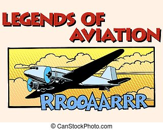Legends of aviation abstract retro airplane