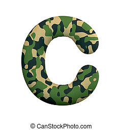 leger, c, concept, leger, -, oorlog, camo, brief, hoofdstad, lettertype, survivalism, of, 3d