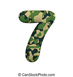 leger, cijfer, concept, leger, -, getal, oorlog, camo, 7, survivalism, of, 3d