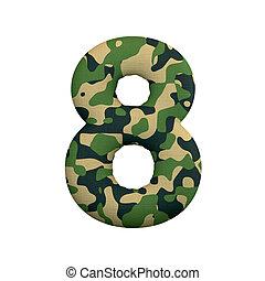 leger, cijfer, concept, leger, -, getal, oorlog, camo, 8, survivalism, of, 3d