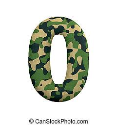 leger, cijfer, concept, leger, -, getal, oorlog, nul, camo, survivalism, of, 3d