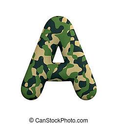 leger, concept, leger, -, oorlog, camo, brief, hoofdstad, lettertype, survivalism, of, 3d