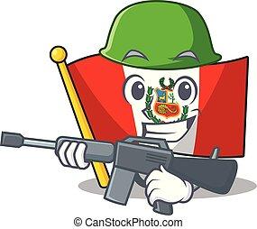 leger, peru, macot, vlag, vrijstaand