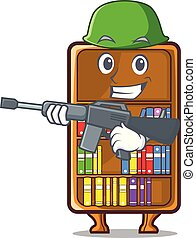 leger, studeren, naast, boekenkast, bureau, mascotte