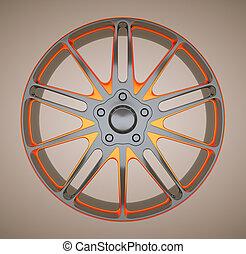 legering, skiva, eller, hjul, av, sportcar