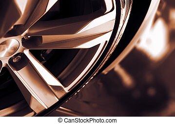 legering, vogn hjul, closeup