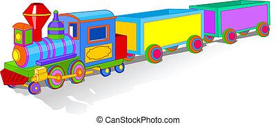 legetøj tog, farverig