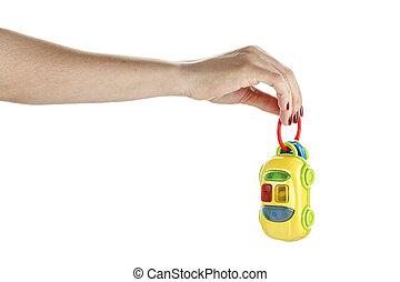 legetøj vogn, ind, kvindelig ræk