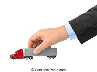 legetøj vogn, lastbil, ind, hånd