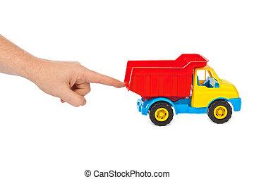 legetøj vogn, lastbil, og, hånd
