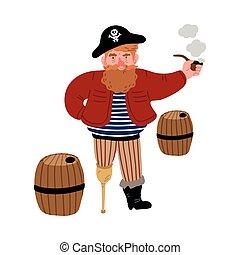 legged, tubo, pirata, barriles, entre, fumar, uno, posición