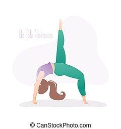 legged, uno, postura, niña, rueda, postura, yoga