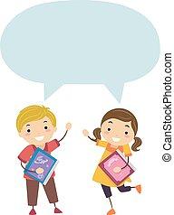 leggere, bambini, stickman, invitare, illustrazione