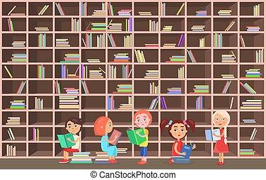 leggere, biblioteca, accanto, libreria, libri, bambini