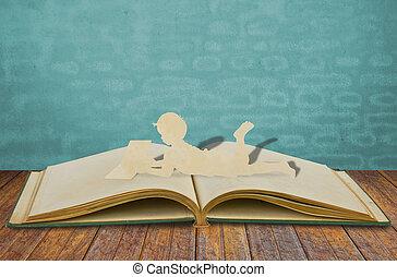 leggere, carta, taglio, libro, bambini