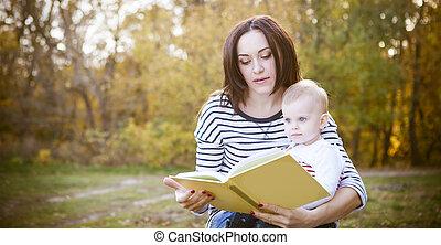 leggere, parco, libro, figlia, madre