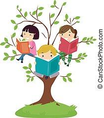 leggere, stickman, bambini, albero