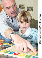 leggere, suo, cultura, nipote, nonno