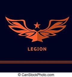 legion, bild, breit-öffnen, stars., battle., sieg, logo, flügeln