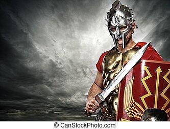 legionary, över, sky, stormig, soldat