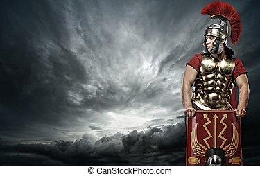 legionary, aus, himmelsgewölbe, stürmisch, soldat