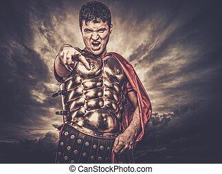 legionary, céu, contra, Tempestuoso, soldado