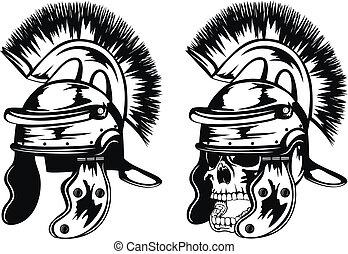 legionary, cráneo, casco