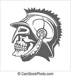legionary, römisches , helmet., -, totenschädel