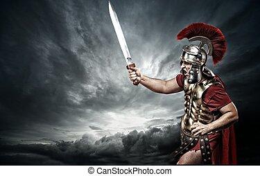legionary, sobre, céu, tempestuoso, soldado