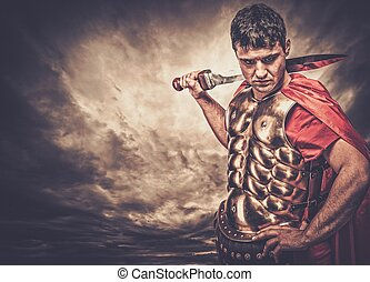 legionary, soldat, contre, ciel orageux