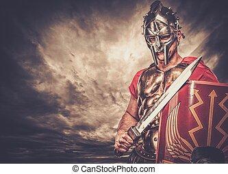 legionary, soldat, mot, stormig himmel