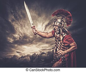 legionary, soldato, contro, cielo tempestoso