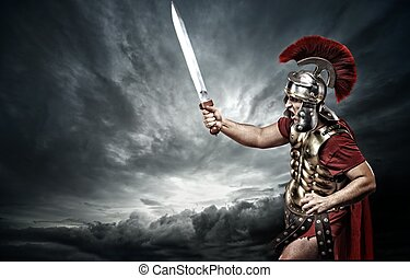 legionary, soldato, sopra, cielo tempestoso