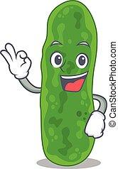 Legionella micdadei mascot design style with an Okay gesture...