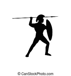 Legionnaire Warrior Silhouette on white background.