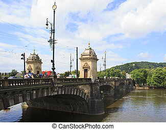 Legions Bridge in the historical center of Prague.