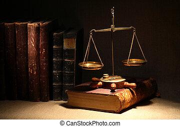 Legislation Concept - Legislation concept. Old brass weight...