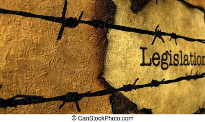 Legislation tag against barbwire