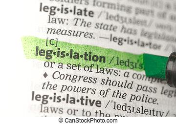 legislazione, evidenziato, definizione