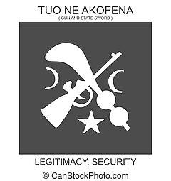 legitimacy, symbole, sécurité, africaine, ne, adinkra, akofena., icône, tuo