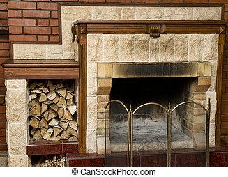 legna ardere, caminetto, sporco, vuoto