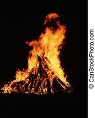 legna fuoco, campeggiare, dettaglio, urente