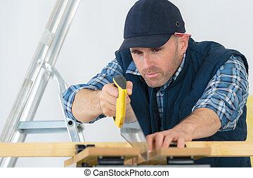 legna taglio, asse, uomo, sawing